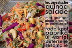 Indonesische Quinoa Salade met Gember-Pinda Dressing en Cashewnoten