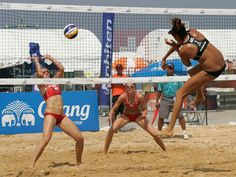 Australia's Taliqua Clancy attacks against the Netherlands in the 2012 FIVB Thailand Open.