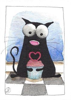 ACEO Original watercolor painting black fat cat heart cupcake with love #IllustrationArt
