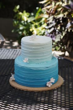 Blue ombre birthday cake