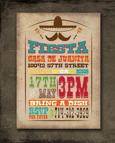 Image result for kraft paper color fiesta invitation