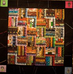 Patricia Bass Bailey, African Sawtooth, 2008, cotton fabric and thread, African embroidery designs, 53 x 53 inches