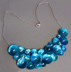 Mother of pearl blue button necklace