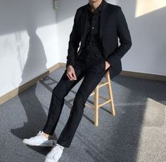 58 Ideas For Fashion Mens Formal Gentleman Style Outfit - Daily Fashion Black Outfit Men, All Black Suit, Black Outfits, Korean Fashion Men, Trendy Fashion, Korean Men, Suit Fashion, Fashion Outfits, Look Man