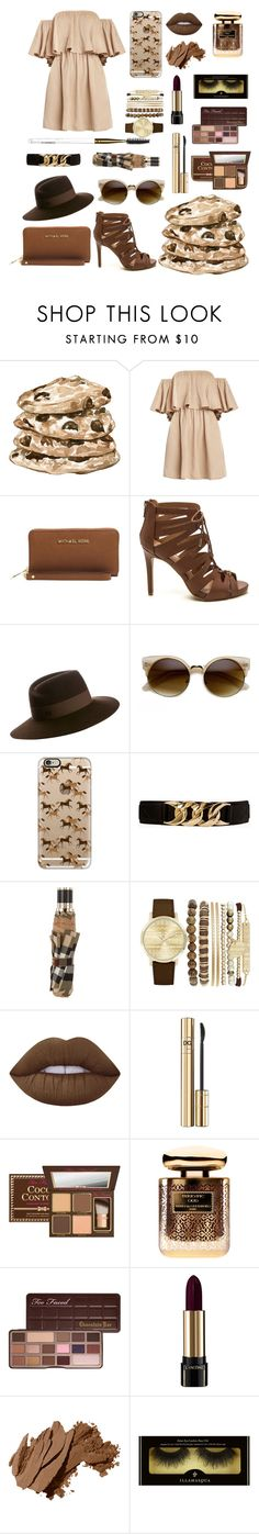 """""""Chocolate chip cookie"""" by amalie-solis ❤ liked on Polyvore featuring Michael Kors, Maison Michel, Casetify, Forever 21, Burberry, Jessica Carlyle, Lime Crime, D&G, Terry de Gunzburg and Too Faced Cosmetics"""