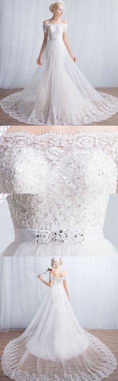 Off Shoulder Wedding Dress,  Lace Bridal Dress, Gorgeous Wedding Dress#weddingdress#lace#2018wedding