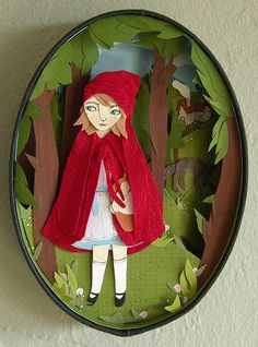 Gorgeous Illustrations for Classic Children's Books Cut Paper Illustration, Serpentina, Paper Artwork, Red Hood, Illustrations, Red Riding Hood, Origami, Little Red, Box Art
