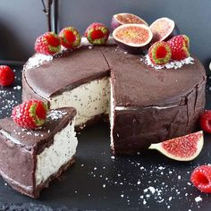 """raw coconut & chia seeds """"cheesecake"""" covered in raw chocolate"""