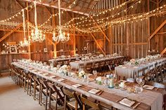 A barn wedding like mine...don't forget the pictures and candles on the shelf around the back wall