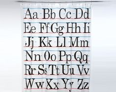 Amazon.com: Vintage Alphabet Shower Curtain (PVB free): Home & Kitchen