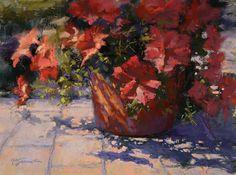 "Front Porch Petunias by Barbara Jaenicke Pastel ~ 9"" x 12"""