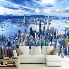New Design Texture Wallpaper 3D Stereo Blue Sky City Building Landscape Photo Mural Dining Room Living Room Sofa Backdrop Walls #Affiliate