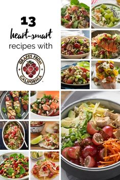 Check out these 13 heart-smart recipes featuring heart-healthy grapes from California Easy Healthy Meal Prep, Healthy Eating Recipes, Healthy Dishes, Veggie Dishes, Healthy Cooking, Healthy Snacks, Cooking Recipes, Diner Recipes, Diabetic Recipes