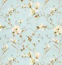 Magnolia Garden Fabric A pure cotton curtain fabric with a striking large design watercolour style print of flowering magnolia branches in mocha and ivory on an aqua ground.