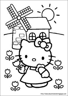 Hello Kitty On The Farm Coloring Sheet