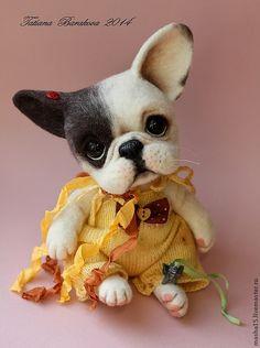 LOVE! Precious little needle felted French Bulldog by Russian felting artist Barakova Tatiana