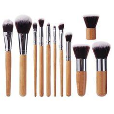EmaxDesign® Professional 11 Pieces Bamboo Handle Makeup Brush Set Premium Synthetic Kabuki Foundation Blending Blush Eyeliner Face Liquid Powder Cream Cosmetics Brushes Kit With Bag EmaxDesign http://www.amazon.com/dp/B00FZKB51S/ref=cm_sw_r_pi_dp_sYlIvb1SQP7S6