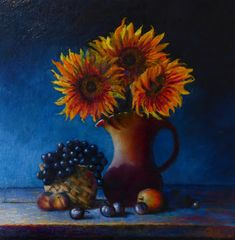 Sunflowers and Fruit, An oil painting by Irish still life artist Chris Quinlan. An oil painting on linen panel of sunflowers in a vase with fruit, completed March 01 x (white) Still Life Artists, Still Life Oil Painting, Sunflowers, Be Still, Fruit, Irish, March, Vase, Vintage