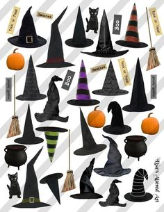 Digital Collage Sheet Halloween Witches Hats Sheet no. Witch Party, Halloween Witch Hat, Holidays Halloween, Halloween Crafts, Halloween Decorations, Halloween Tattoo, Halloween Humor, Collage Sheet, Collage Art
