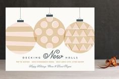 """""""Decking New Halls"""" - Customizable Holiday Cards in Orange or Pink by Jessica Booth. Business Christmas Cards, Corporate Holiday Cards, Diy Father's Day Shirts, Tie Gift Box, Gift Boxes, Custom Envelopes, Holiday Photo Cards, Decking, Card Making"""