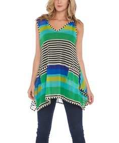 This Green & Blue Stripe Sheer Sidetail Top by Nouveau Monde is perfect! #zulilyfinds