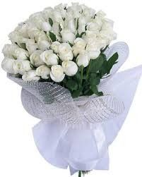 #Beautiful Hand #Bouquet of 30 #White #Roses with Net Packing  Price: $18.75