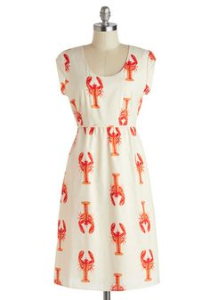 Catch of the Day Dress - Print with Animals, Casual, Nautical, Cotton, Long, White, Red, Pockets, Scoop, Novelty Print, A-line, Cap Sleeves, Summer