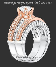 Two-Tone Rose Gold and White Gold #EngagementRing and matching #WeddingRing from BloomingBeautyRing.com (213) 222-8868