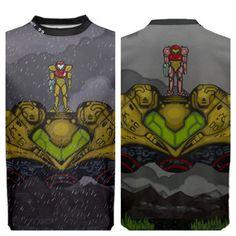 Metroid original painting in T-shirt form! Metroid, Original Paintings, Studio, Sweatshirts, Mens Tops, T Shirt, Tee, Study, Plush