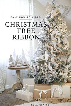 10 Tips for Beautiful Christmas Tree Ribbon - Ella Claire How to add Ribbon to a Christmas tree- a beautiful and inexpensive DIY way to decorate for the holidays! Silver Christmas Decorations, Ribbon On Christmas Tree, Beautiful Christmas Trees, Christmas Home, Christmas Holidays, White Christmas, How To Decorate Christmas Tree, Christmas Tree Quotes, Christmas Tree On Table