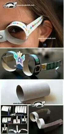 Sunglasses from empty toilet paper rolls - love this! I would add coloured cellophane in the lens part. Projects For Kids, Diy For Kids, Crafts For Kids, Preschool Crafts, Fun Crafts, Preschool Kindergarten, Toilet Paper Roll Crafts, Toilet Paper Rolls, Recycled Crafts