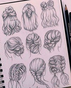 best cute drawings, anime drawings, flower drawing of techniques, great examples of drawing tutorial. Cool Art Drawings, Pencil Art Drawings, Art Drawings Sketches, Art Sketches, Drawings Of Hair, Drawing Drawing, Drawing Ideas, Fashion Sketches, Emoji Drawings
