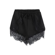 SheIn(sheinside) Black Elastic Waist Contrast Lace Shorts (370 UYU) ❤ liked on Polyvore featuring shorts, bottoms, black, short, loose fit shorts, short shorts, loose fitting shorts, lace shorts and lacy shorts