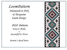 Loom Pattern Diamonds in Pink & Turquoise for Seed Beads