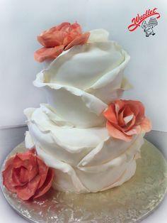 Fondant peeled petals wedding cake with orange gum paste roses