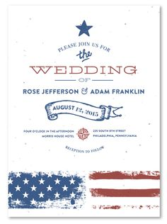 vintage americana plantable unique wedding invitationsunique - Patriotic Wedding Invitations