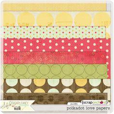 Digital Scrapbook Papers Pack Polkadot Love | by Sugary Fancy Designs