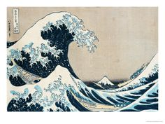 "Framed Art Print: The Great Wave Off Kanagawa, from the Series Views of Mt. Fuji"" (""Fugaku Sanjuokkei"") by Katsushika Hokusai : Great Wave Off Kanagawa, Art And Illustration, Japanese Prints, Japanese Art, Japanese Painting, Traditional Japanese, Japanese Waves, Fine Art Amerika, Katsushika Hokusai"