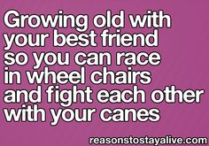 Growing old with your best friend so you can race in wheel chairs and fight each other with your canes