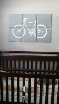 bicycle themed nursery painting