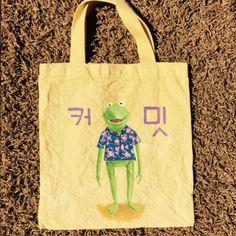 "Kermit x Blossom shirt x Korean""Kermit"" bag dyed  yellow"