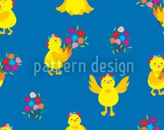Lucky Chick by Yenty Jap available as a vector file on patterndesigns.com Vector Pattern, Pattern Design, Coloring Easter Eggs, A Funny, Vector File, Abstract Pattern, Vector Design, Easter Bunny, Patterns