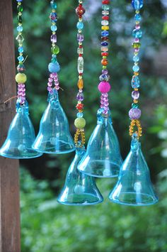 Turquoise Glass-Blown Bell On Beaded String (Made to Order) by RonitPeterArt on Etsy Shades Of Turquoise, Turquoise Glass, Sea Glass Art, Diy Garden Decor, Creative Decor, Tree Decorations, Boho Decor, Wind Chimes, Glass Beads