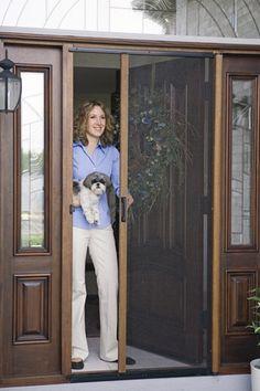 Retractable Aluminum Flyscreen Door for French Doors. Single door in Brown color.