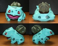 Bulbasaur Flower Pot: Make a Bulbasaur (actually more of an Ivysaur) that holds a plant on its back. Materials needed: A small plant in a pot Printer Thick paper (if available) Paper mache Utility knife Paints Aluminium foil & tape . Small Plants, Potted Plants, Pokemon Craft, Craft Projects, Projects To Try, Flower Pots, Flowers, Bulbasaur, Plastic Pots
