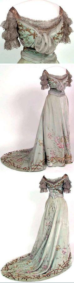 Silk (velvet and chiffon), blonde cotton machine lace, lamé, glass beads, metallic embroidery, silk lining. Norwegian Folk Museum
