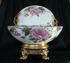 Antique Limoges Punch Bowl Set Handpainted Bowl, Platter  Base