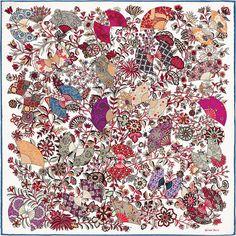 Hermès - Fleurs et Papillons de Tissus by Christine Henry - Gavroche en twill de soie (45 x 45 cm)