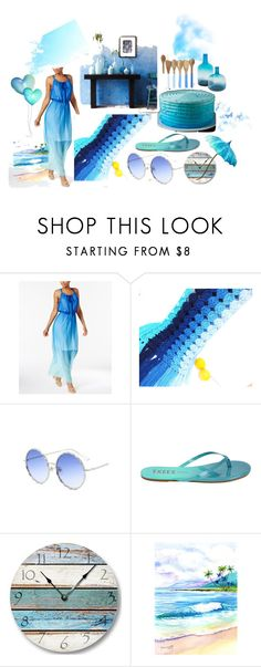 """SHADES OF BLUE"" by suninvirgo ❤ liked on Polyvore featuring NY Collection and WALL"