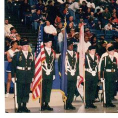 "Presenting the Colors for the 2A Virginia State Basketball Championships in the Scope Coliseum, Norfolk, VA; 1998.  Magna Vista won the semi-final game over Lee County by a point and won State Championship honors by defeating a Bedford that was exptected to ""3-peat"" by a score of 73-67."